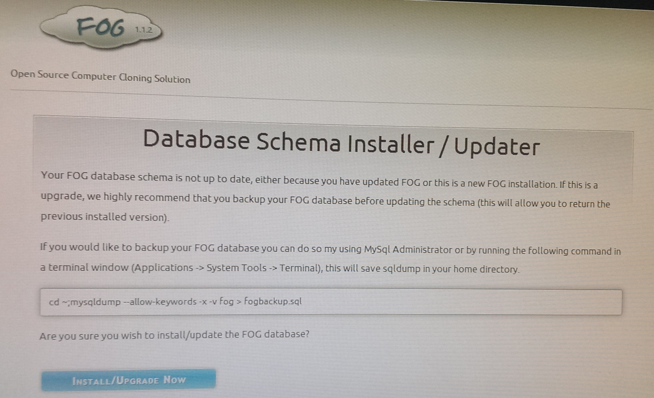 Fog server install Schema